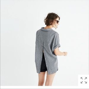Madewell Button Down Back Gingham Courier Top